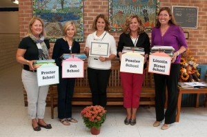 Using Complex Picture Books for Close Reading Grant Award:  Proctor Reading Specialist Sylvia Pabreza, Zeh School Reading Specialist, Mary Lincoln; Marile Borden, NEF President; Peaslee Reading Specialist Jennifer Shields; Amy Staunton, NEF Treasurer..